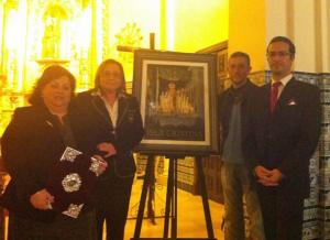 Momento de la presentación de la pregonera y del cartel anunciador de la Semana Mayor de Isla Cristina