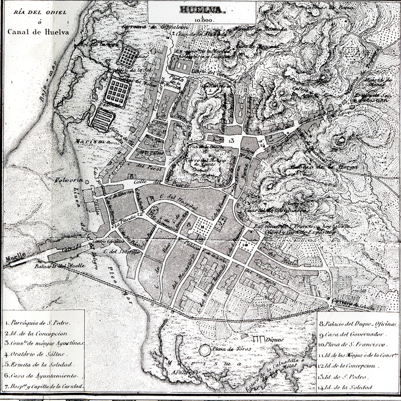 Plano de coello de Huelva.