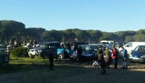 Los almonteños se reúnen en el campo de la Virgen, a la altura del Pastorcito.