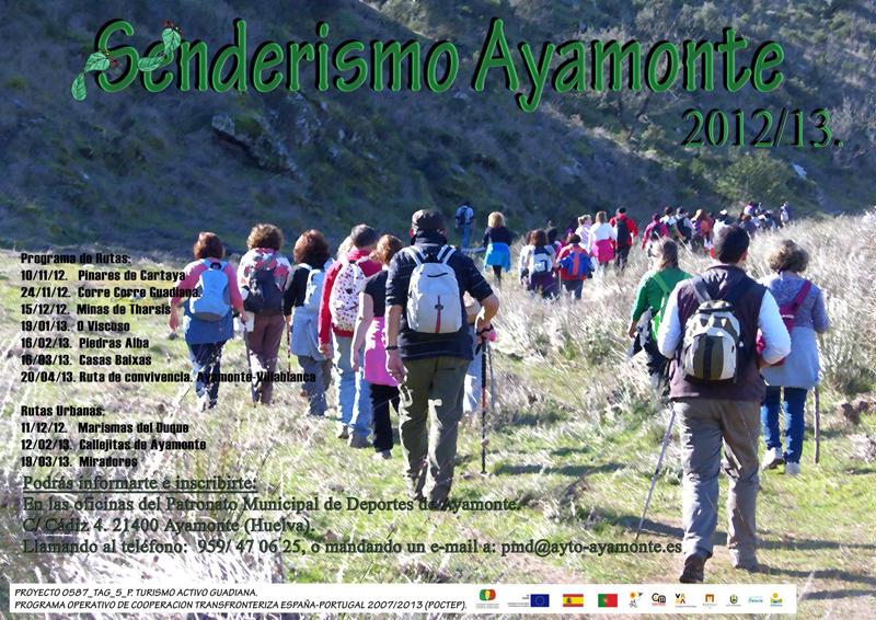 Cartel anunciador de las diversas actividades de senderismo organizado por el Ayuntamiento de Ayamonte.