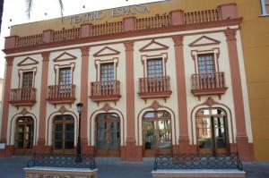 Fachada del Teatro España de La Palma del Condado.