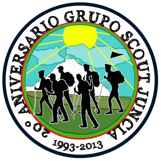 Cartel conmemorativo XX aniversario Grupo Scout Juncia.