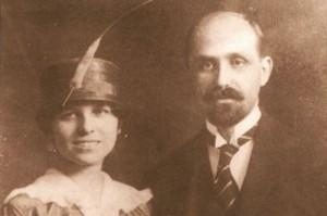 Imagen de la boda entre Juan Ramón y Zenobia en 1916.