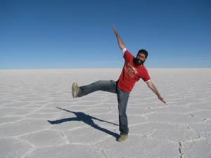En el Salar de Uyuni, Bolivia.