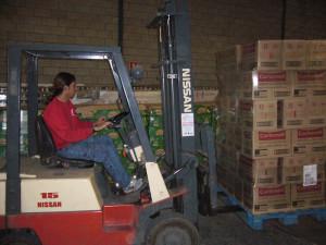 Reparto de alimentos en el centro de almacenamiento de Cruz Roja.