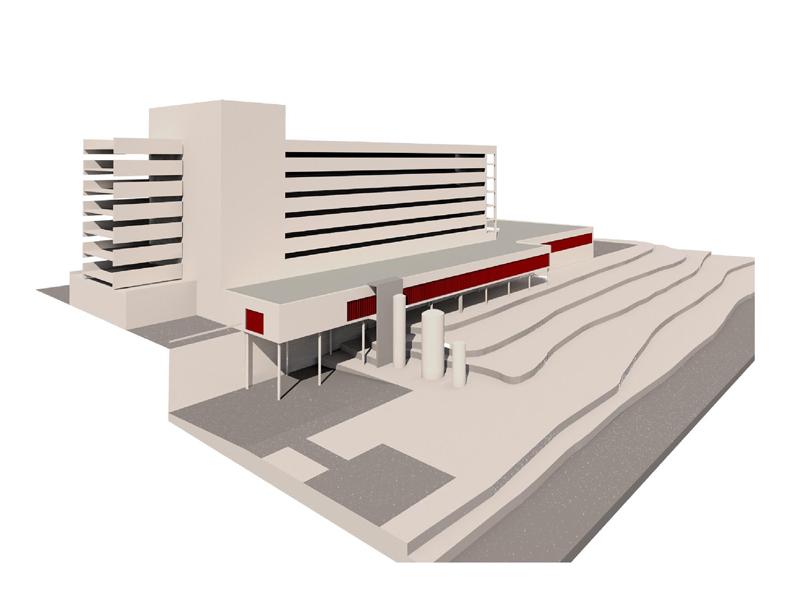 Recreación de la fase A del proyecto de obras en el hospital.