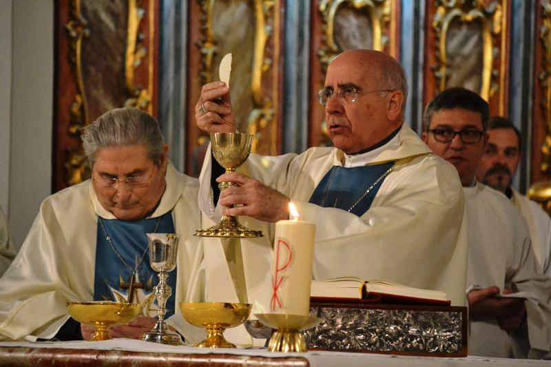 El obispo, durante la misa de acción de gracias por el Papa Francisco.