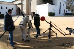 Un momento del rodaje del video de Huelva Buenas Noticias.