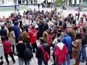 Concentración de periodistas de Huelva en el Día Mundial de la Prensa del pasado año 2012.