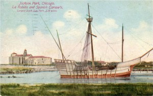 Tarjeta postal editada sobre el Jackson Park de Chicago