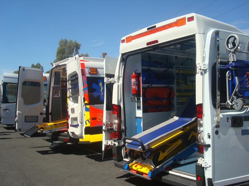 Un ejemplo de la dotación de las ambulancias de la empresa.