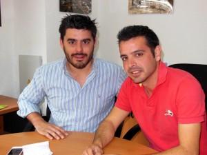 Guillermo Grande y Álvaro Golmar en la redacción de Huelva Buenas Noticias.