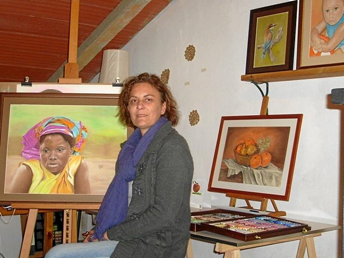 Toñi Pernía, en su estudio.