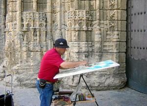Manuel Blandón, pintando.