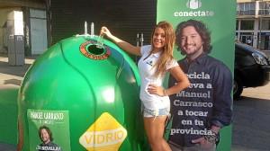 La campaña conciencia sobre el reciclaje de vidrio.