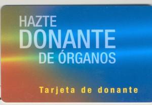 La tarjeta de donante de órganos.