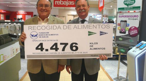 Hipercor entrega al Banco de Alimentos de Huelva 4.476 kilos de productos básicos donados por sus clientes