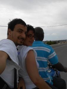 Paloma, en el motoconcho.