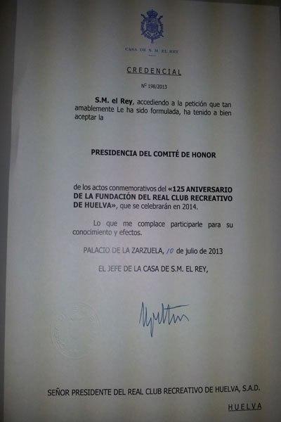 Carta del Rey aceptando la presidencia del Comité del 125 aniversario del Recre