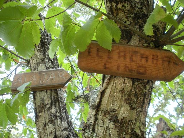 Cartel que señala la dirección hacia El Calabacino. / Foto: Senderos y Montes.