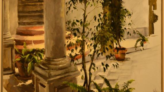 El artista Juan Galán cuelga su nueva colección pictórica en Ayamonte