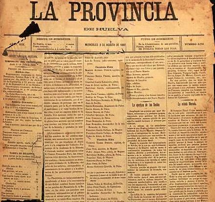 Portada del diario La Provincia el 3 de agosto de 1892. / Fuente: Archivo Municipal de Huelva.