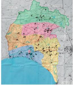 Mapa en el que se muestra la localización de los casinos de la provincia de Huelva.