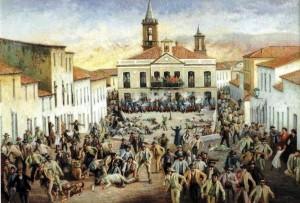 Pintura que recrea la huelga del 'Año de los Tiros' se produjo el 4 de febrero de 1888.