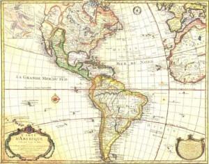 Mapa de América del siglo XVIII.