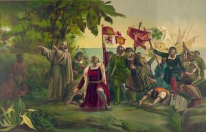 Recreación de la llegada de Colón a la isla de Guanahi.