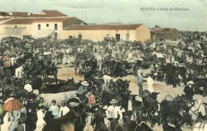 Tarjeta postal de la Feria de Gibraleón enviada a Londres el 13 de febrero de 1909. / Foto: Archivo Ramón Fernández Beviá.