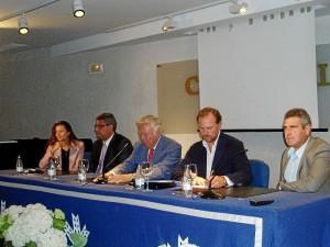 Sonia Fernández, José Lagares, los presidentes de la Fundación Caja Rural del Sur y de Agro Onuba y Miguel Ángel Dïaz.