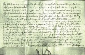 Documento fechado el 9 de julio de 1.323 por el que se le concede una Feria a Gibraleón.