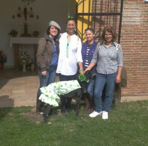 Rosaura y Mari Carmen con dos voluntarias y Montse, una galgo.
