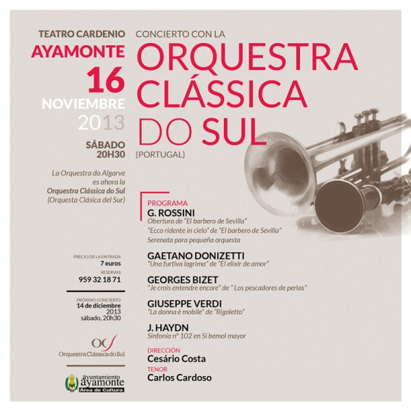 El tenor Carlos Cardosó actuará en Ayamonte acompañado por la Orquesta Clásica del Sur