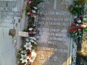 Tumba de William Martin en el Cementerio de La Soledad de Huelva.
