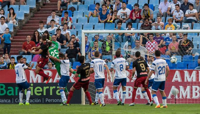 Ruymán, en el momento de marcar un gol, al Zaragoza.