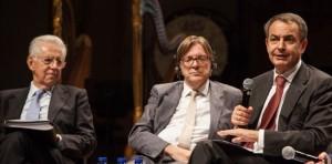Mario Monti, Guy Verhofstadt y José Luis Rodriguez Zapatero. / Foto: http://tempsreel.nouvelobs.com