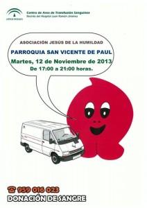 Cartel de la nueva colecta de sangre.