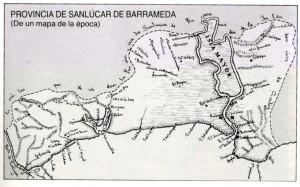 Mapa de la provincia de Sanlúcar, en la época de Godoy.