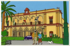 El Patronato de Turismo ha querido recuperar estas curiosas imágenes. Tintín, en Moguer.
