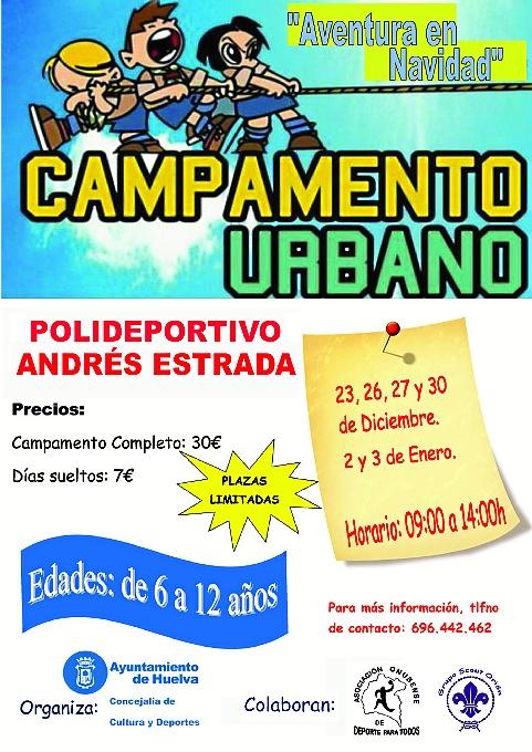 Cartel del campamento urbano.
