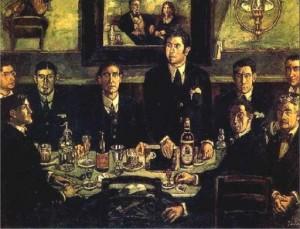 Cuadro 'La tertulia del Café Pombo' (1920), del pintor José Gutierrez Solana. En la mesa aparece una botella de Mahou, prueba de que entonces la cerveza era considerada una bebida propia de la clase intelectual, al contrario que el vino.