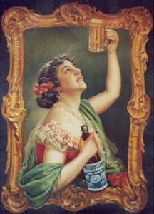 Uno de los primeros carteles conocidos de Mahou, donde se hace referencia a la fábrica de Gibraleón. / Foto: lafabricamuseodelacerveza.com/museo-genova.