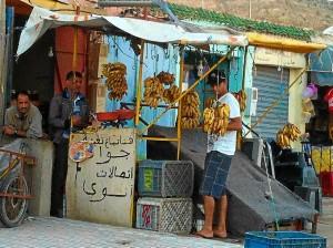 Puesto de plátanos en el sur de Marruecos.