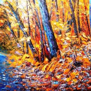 A la artista le gusta pintar la Sierra en otoño.