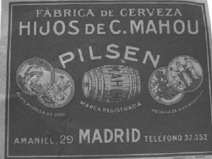 Etiqueta de la fábrica de Mahou en Madrid. / Foto: Archivo de Antonio Mira.