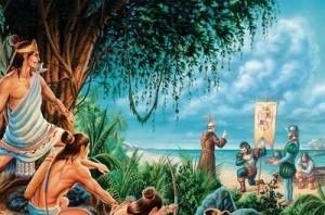 Representación de la conquista del Yucatán.