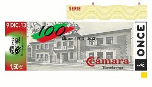 El cupón del día 9 de diciembre estaba dedicado al Centenario de la Cámara de Comercio de Torrelavega.
