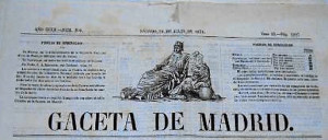 Gaceta de Madrid, un periódico de referencia donde apereció publicada la Orden sobre la Isla Saltés.